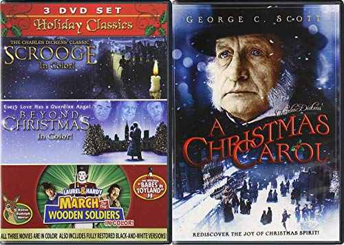 March Charles Dickens Holiday 4 Movie DVD Pack Christmas Carol / Scrooge / Laurel Hardy March Wooden Soldiers in Color / Beyond Christmas Guardian Angel