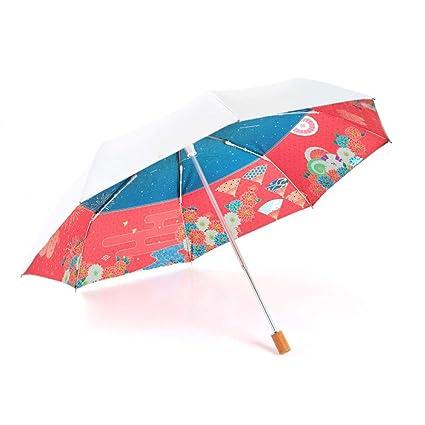 a2d01dffa4cf Amazon.com: MUTSALAK White tri-fold Umbrella --95% Anti-UV ...