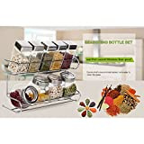 Stainless Steel Spice Rack With Jars | Sturdy 9 Bottle Rack Best for Convenient Storage & Organization of Favorite Spices and Herbs