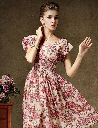 PU&PU Robe Aux femmes Swing Vintage , Fleur Col Arrondi Mi-long Polyester , blue-m , blue-m