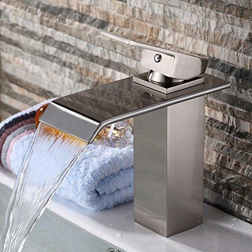 Yodel Single Handle Waterfall Bathroom Vanity Sink Faucet Brushed Nickel