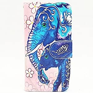 iPhone 5S Case, WKell Elephant Pattern Painted Card Leather for iPhone 5/5S