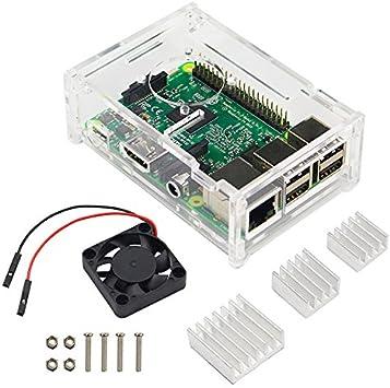 G-hawk Raspberry Pi 3 B + Funda con Ventilador y Disipadores de Calor de Aluminio para Pi 3 Modelo B +, 3B Plus, 3 ...