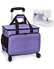 Sewing Machine Carrying Case, Collapsible Trolley Bag with Wheels for Brother, Bernina, Singer and Most Standard Machines, Detachable Trolley Dolly Tote, Boarding Bag for Trip,Purple