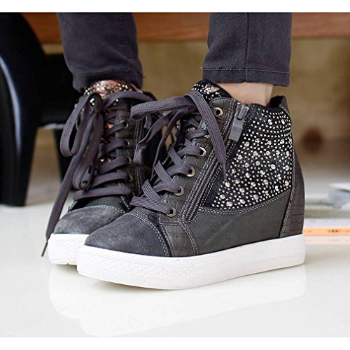 best seller pre order cheap price EpicStep Women's Casual Comfy Studded Leather Tall Up Hidden Wedges High Mid Heels Sneakers Shoes Grey Manchester QQiIjaoh