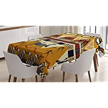 Primitive Decor Tablecloth by Ambesonne, Tribal Ethnic African Hunting Zebra with Spear and Arrow Prehistoric Tribe Theme, Rectangular Table Cover for Dining Room Kitchen, 60x90 Inch, Ruby Mustard