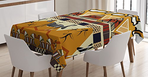 Ambesonne Ethnic Tablecloth, Tribal Ethnic Style Hunting Zebra Illustration Prehistoric Tribe Life Theme Print, Dining Room Kitchen Rectangular Table Cover, 52 W X 70 L Inches, Mustard Ruby ()