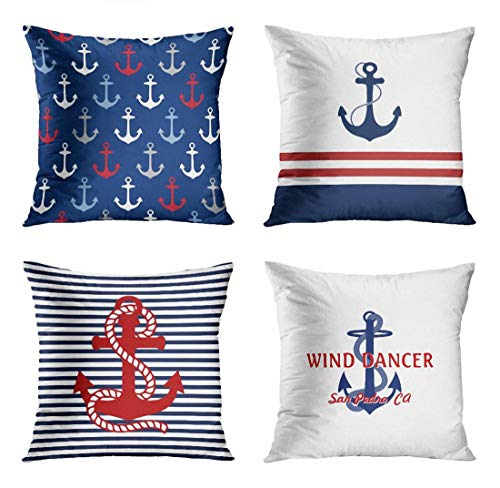 - ArtSocket Set of 4 Throw Pillow Covers Boat Navy Anchor Pattern Nautical Red White and Blue Stripes Maritime Name Decorative Pillow Cases Home Decor Square 18x18 Inches Pillowcases