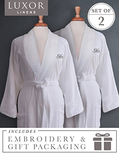 Luxor Linens - Terry Cloth Bathrobes - 100% Egyptian Cotton Same-Sex Couple's Bathrobe Set - Luxurious, Soft, Plush Durable Set of Robes - MRS./MRS. with Signature Gift Packaging by Luxor Linens