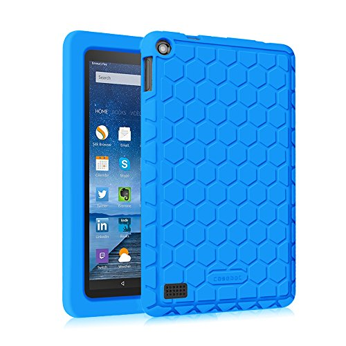 Fintie Silicone Case for Amazon Fire (Previous 5th Generation ONLY, 2015 7 inch) - [Honey Comb Series] [Kids Friendly] Light Weight Anti Slip Shockproof Back Cover (NOT Fit All-New Fire 7 2017), Blue