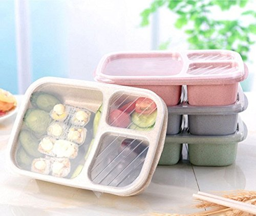 ACE 2017 Improved Design 3 Compartment Reusable Eco-Friendly Food Storage Containers. Ideal For Portion Control And Meal Prep. Bento Lunch Boxes For Adults And Kids. Pack of 4.