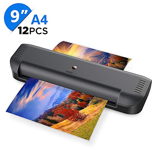 ABOX A4 Laminator Machine, Portable Thermal Laminating Machine OL141 with 12 Pouches, Fast Warm-up & No Bubbles, for Home/Office/School (Black)