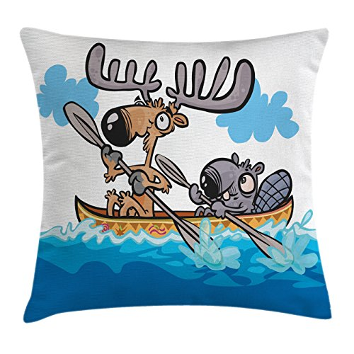 Moose Throw Pillow Cushion Cover by Ambesonne, American Animals Boat Beaver Friend Canoe River Fun Native Characters Cartoon, Decorative Square Accent Pillow Case, 16 X 16 Inches, Blue White Brown