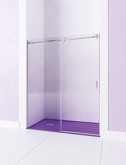 Modelo TEA - Mampara de ducha Frontal de 1 hoja fijas y 1 puerta corredera. - ACERO INOXIDABLE - Cristal 6 mm con ANTICAL INCLUIDO (131-140): Amazon.es: Bricolaje y herramientas