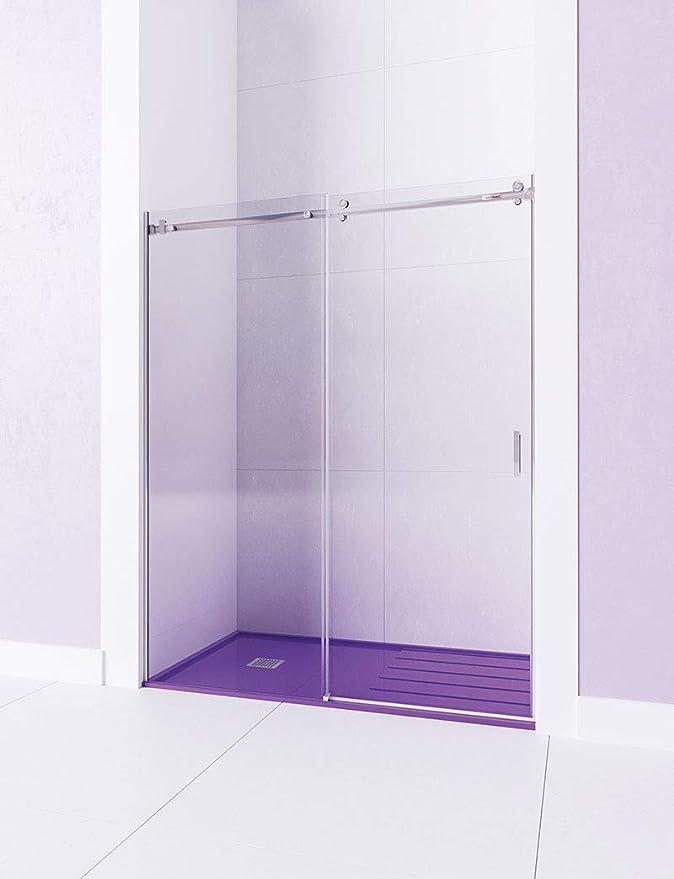 Modelo TEA - Mampara de ducha Frontal de 1 hoja fijas y 1 puerta corredera. - ACERO INOXIDABLE - Cristal 6 mm con ANTICAL INCLUIDO (111-120): Amazon.es: Bricolaje y herramientas