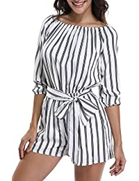 cad2080745c Rompers for Women Long Sleeves Boat Neck Off The Shoulder Strapless Mid Rise  Casual Jumpsuit w
