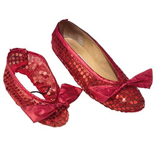 Dorothy Sequin Shoe Covers Costume Accessory (Girls Red Sequin Shoe Covers)