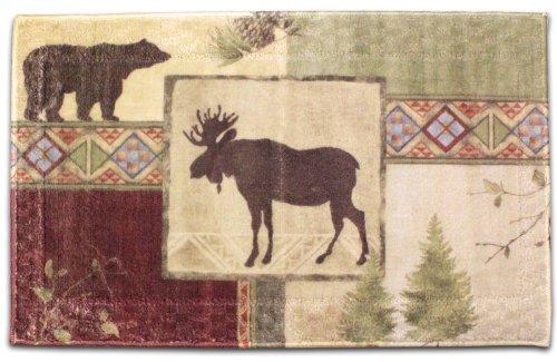 amazoncom mountain moose and bear 5 piece bath set cabin decor shower curtain rug and more home u0026 kitchen