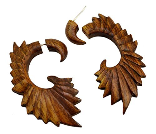 A Pair of Tribal Coco Ebony Wooden Earrings Boho Hippie Wood Tapers sew_1226 - 75mm Earrings