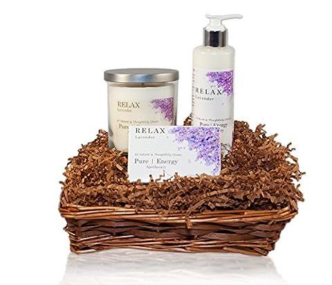 Pure Energy Apothecary : Nourishing Balance Gift Set # 5 Lavender with Basket - Energy Gift Basket