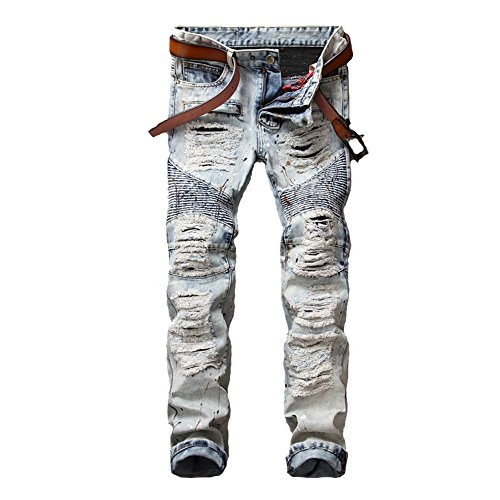 Logo Straight Jean - Just No Logo Men's Slim Fit Straight Denim Ripped Biker Jeans(34W)