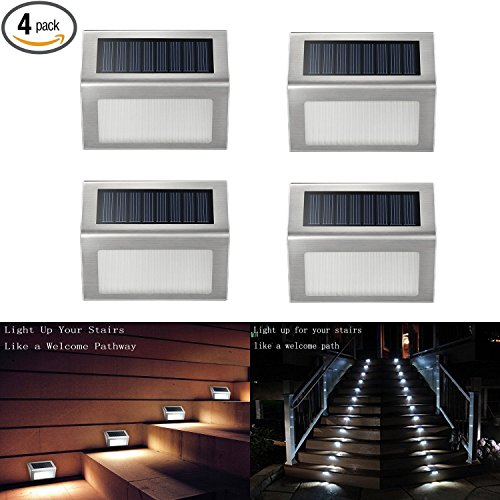 Solar Deck Lights, iThird 3 LED Solar Powered Step Lights Stainless Steel Outdoor Lighting for Steps Paths Patio Stair Auto On/Off Waterproof 4 Pack
