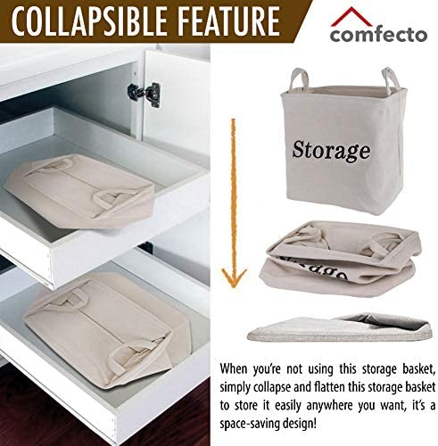 """Eco-Friendly Heavy Duty Collapsible Linen Cube Storage Bin Cube Large Storage Basket Lightweight Foldable Linen Basket for Baby Nursery Clothes Laundry Shoes Kids Toys 14x10x14/"""""""