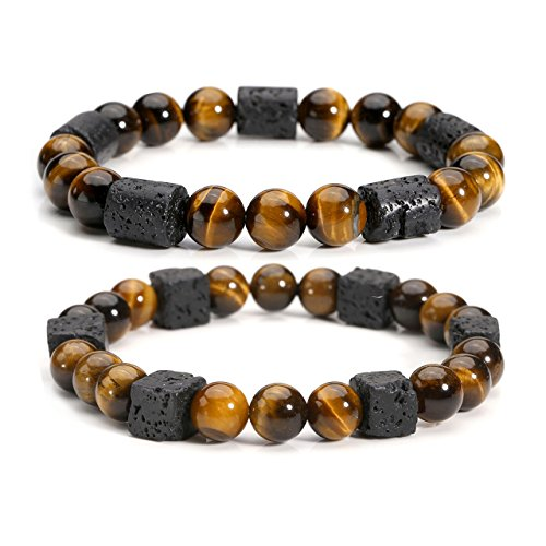 Price comparison product image Top Plaza Tiger Eye Stone Lava Rock Natural Gemstone Healing Crystal Bead Bracelet Essential Oil Diffuser Stretch Bracelet for Men Women(Set Of 2)