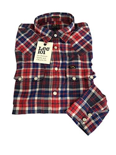 LEE 101 camicia uomo 101 RIDER SHIRT taglio western quadri blu/rosso regular fit bottoni automatici 100% cotone