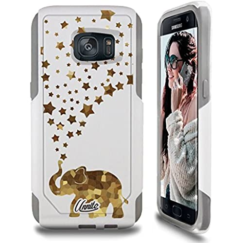Galaxy S7 Case Unnito [Custom] Dual Layer - Shock Protection [Hybrid Cover] - ( White - Happy Glass Elephant ) Sales