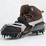 Lixada 1 Pair 12 Teeth Claws Crampons Non-slip Shoes Cover Stainless Steel Chain Outdoor Ski Ice Snow Hiking Climbing Grey