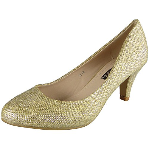 Womens Glitter Mid Heels Party Bridesmaid Wedding Bride Court Shoes Size 3-8 Gold