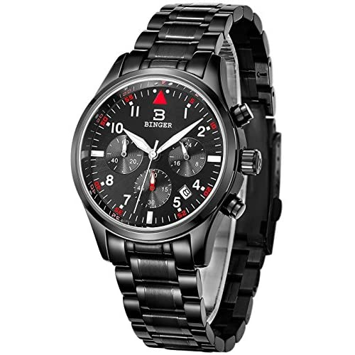 BINGER Mens Date Black Sports Chronograph Watches Timer Luminous Numerals Stainless Steel Bracelet