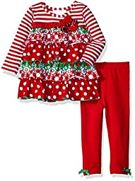 Bonnie Baby Baby Tiered Ruffle Playwear Set, Red, 18 Months