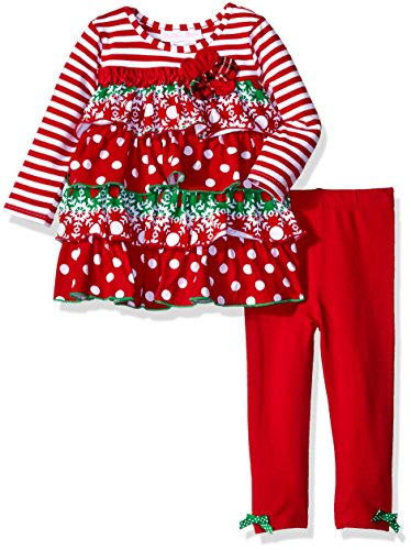 Bonnie Baby Baby Girls' Christmas Dress and Legging Set, Ruffle, 6-9 Months