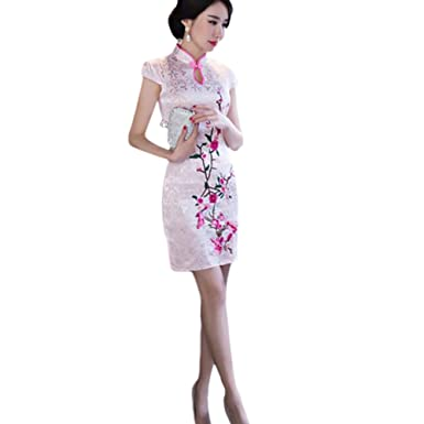 Meijunter New Charming Chinese Womens Traditional Evening Dress Short Linen Cheongsam Floral Printed Qipao M