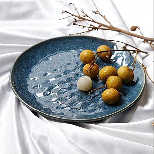 (Usmaple High-Grade Ceramic Color Glaze Fruit Plate Pasta Dish Salad Plate Creative Fruit Plate Ceramic Storage)