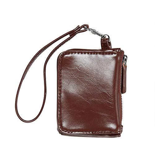 Womens Small Wristlet Leather Coin Purse, RFID Blocking Credit Card Wallet Case (Coffee)