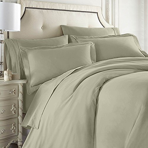 Nestl Bedding 7-Piece King Duvet Cover and Bed Sheet Set - Includes Duvet Cover, Flat Sheet, Fitted Sheets, 2 Pillowcases and 2 Pillow Shams - Complete Luxury Soft Microfiber Bedding Set, Sage Green