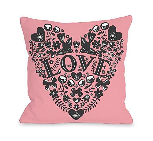 "Bentin Home Decor Folk Ephermera Throw Pillow Cover by Abi Hall, 18""x 18"", Pink/Black"