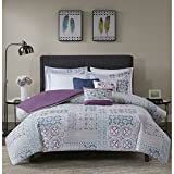 Madison Park Alhambra Duvet Cover Full/Queen Size - Purple, Blue, White, Pieced Medallion Duvet Cover Set – 8 Piece – 100% Cotton Light Weight Bed Comforter Covers
