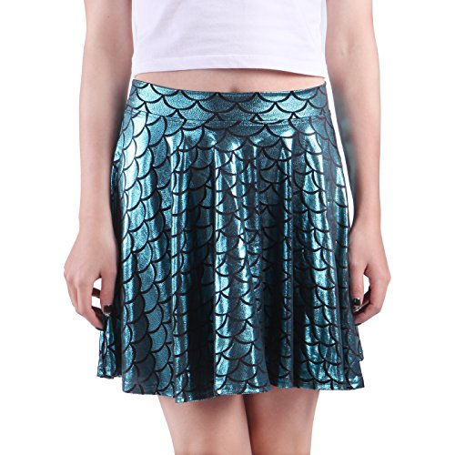 HDE Womens Shiny Mermaid Fish Scale Mini Flared Pleated Skater Skirt (Teal, Medium) (Sea Mermaid Costume)