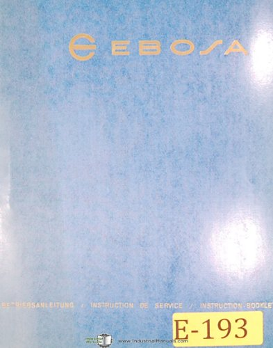 Ebosa M31/M32, Turning and Thread Cutting Machine, Cams & Chucks Instruction Manual