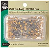 Dritz 112 Color Ball Pins, Extra Long, 1-3/4-Inch (250-Count)