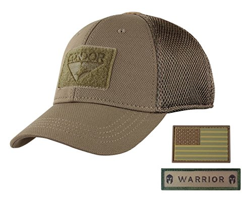 Camo Full Back Cap - Active Duty Gear Condor Flex Mesh Cap (Brown) + PVC Flag & Warrior Patch, Highly Breathable Fitted Tactical Operator Hat (L/XL)