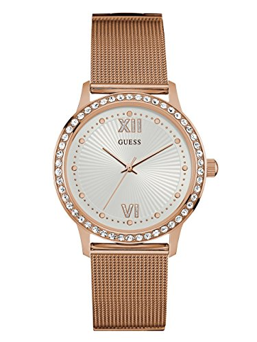- GUESS Women's Stainless Steel Crystal Mesh Bracelet Watch, Color: Rose Gold-Tone (Model: U0766L3)