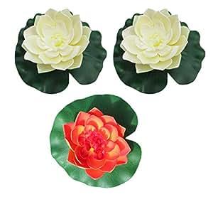 raanpahmuang 3pcs grande Artificial Flotante Espuma Flor de loto decoración de estanque agua Lily