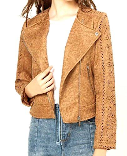Suede Us Army Baseball Jacket - Winwinus Women's Faux Suede Original Fit Fold-Collar Bomber Jacket Coffee M