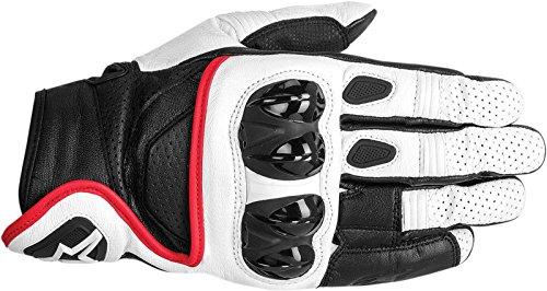 n's Street Motorcycle Gloves - White/Black/Red/Medium ()