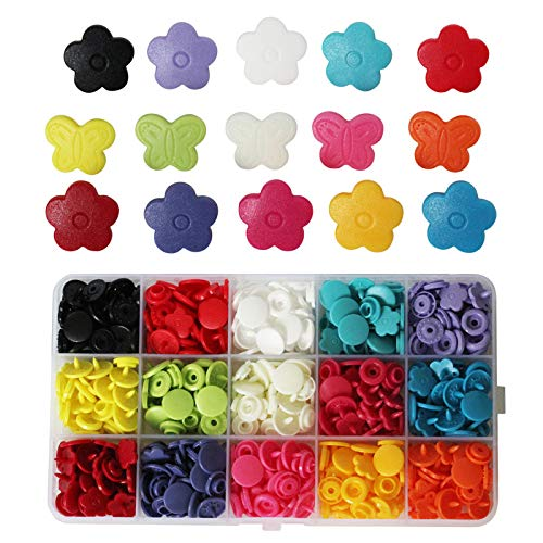 150 Sets KAMsnaps Round Butterfly Flower Shape Size 20 KAM Snaps Resin Plastic Buttons No-Sew Fasteners